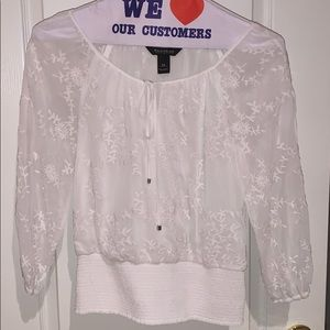 WHBM White floral blouse with 3/4 sleeves - XS